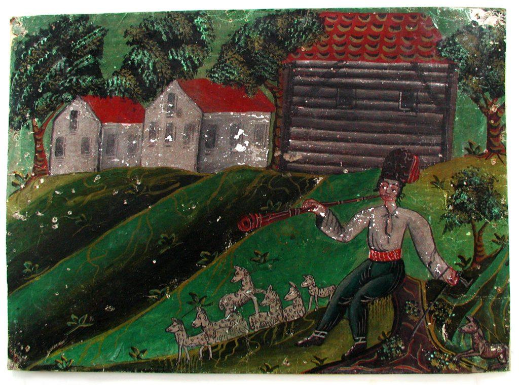 pozadí papírového betlému s valašským pasteveckým motivem