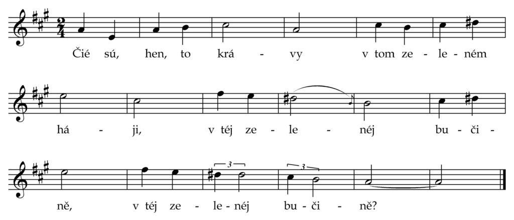 """""""Čié sú, hen, to krávy"""" - píseň zpíval Ludevít Kubány z Marikové, v roce 1908 zapsal Hynek Bím"""