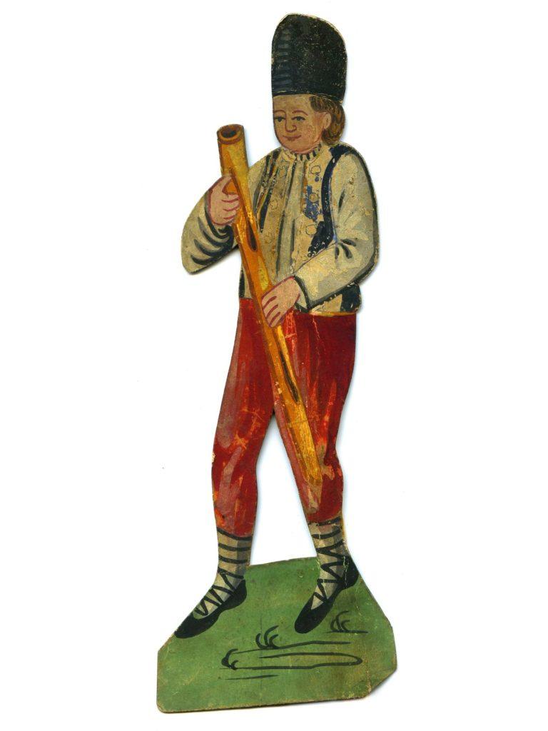 Valach s píšťalou - figurka z papírového betlému